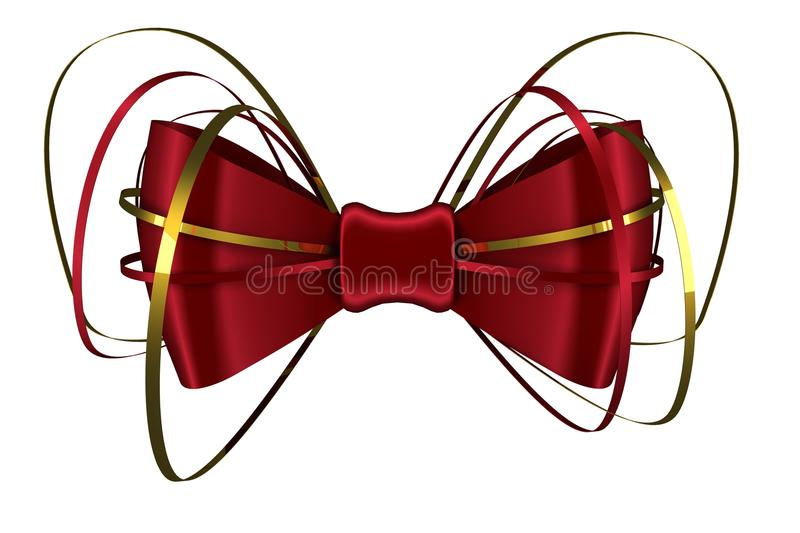 Digitally generated red shiny bow. On white background stock illustration