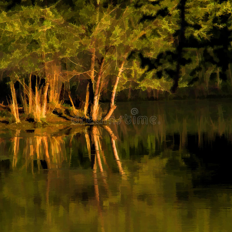 Digitally Painted Late Afternoon Over The Pond. This is a pond in Alabama in the late afternoon, just before dusk, with golden light and reflections stock images