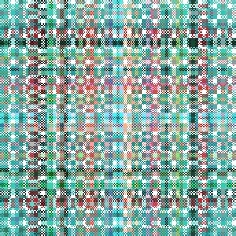 Digitally rendered turquoise red gray green abstract pattern. Abstract geometric digitally rendered checkered pattern usable for scrapbook or print on curtain royalty free illustration