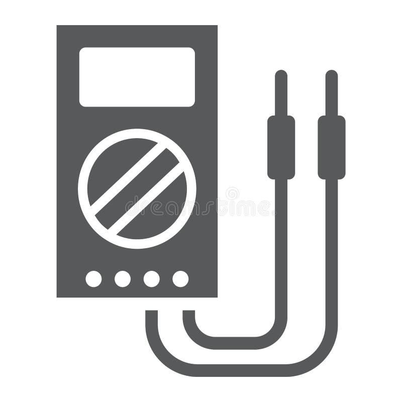 Digitalmessinstrument Glyphikone, Werkzeug und Instrument, elektrisches volmeter Zeichen, Vektorgrafik, ein festes Muster stock abbildung