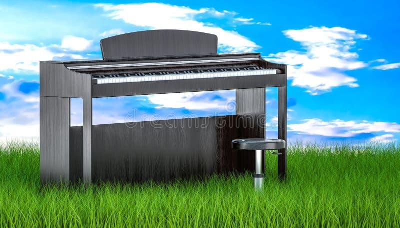 Digitalpiano mit Stuhl im grünen Gras gegen blauen Himmel, 3d ren stock abbildung