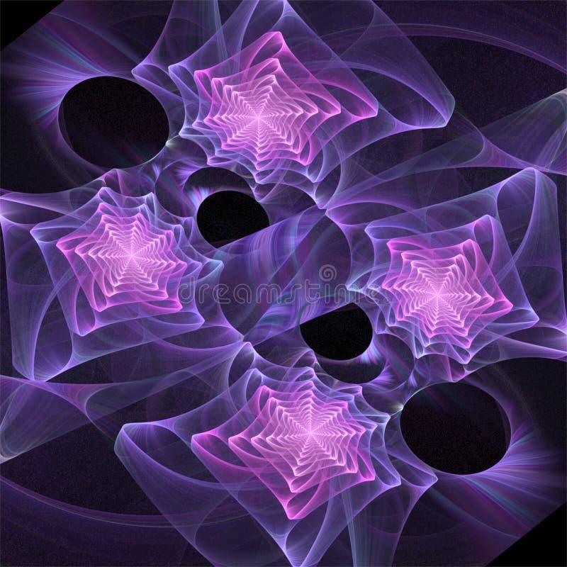 Digitalrechner Fractalkunst abstrakte Fractals vier reizende purpurrote Spiralen vektor abbildung