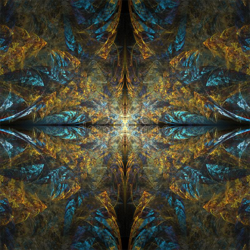Digitalrechner Fractalkunst abstraktes Fractals-Goldblaue symmetrische Verzierung stock abbildung