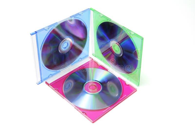Digitalschallplatten in den Plastikfällen stockfotos