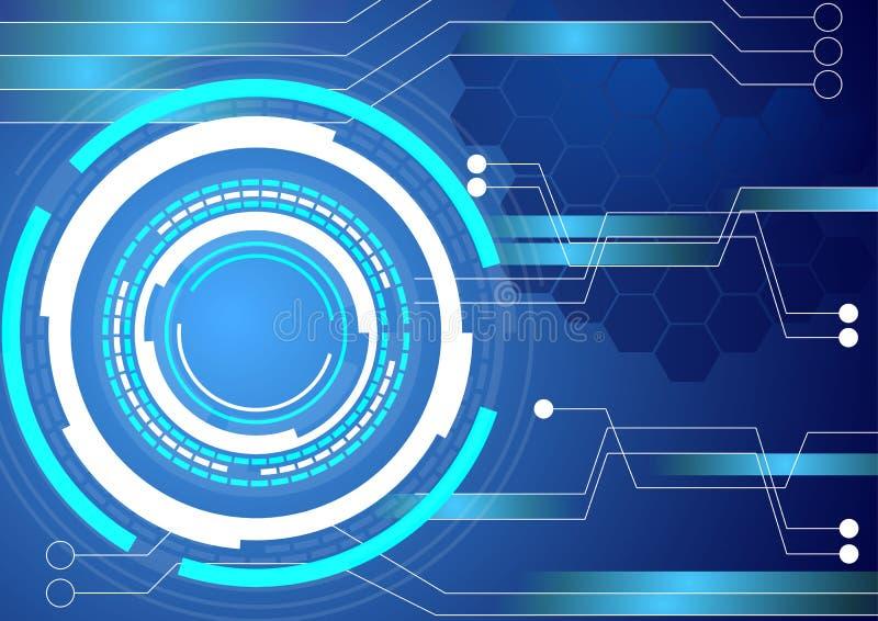 Digitalschaltungs-Technologieblauhintergrund stockfotos