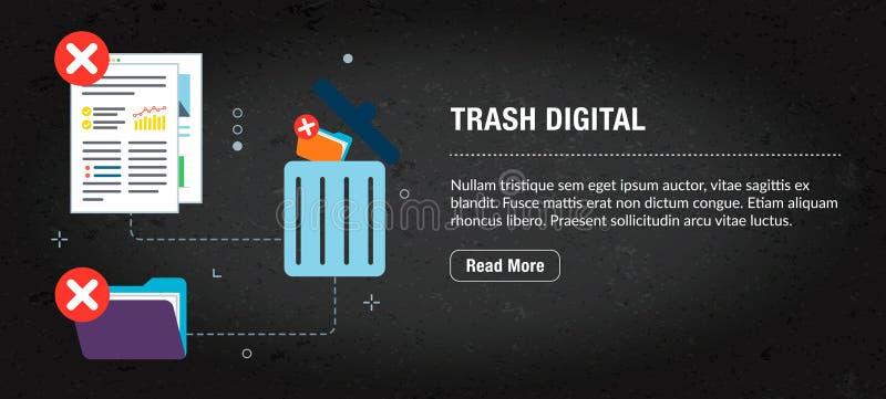 Digitalt avfall, banerinternet med symboler i vektor vektor illustrationer