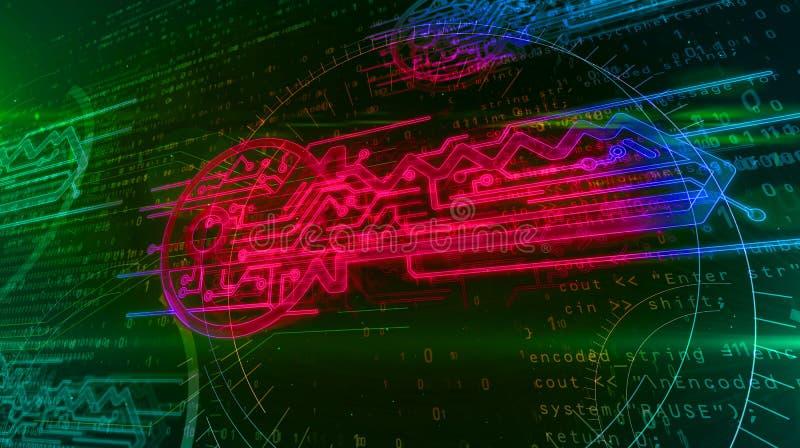 Digitalt begrepp f?r datakryptering med cybertangent royaltyfri illustrationer