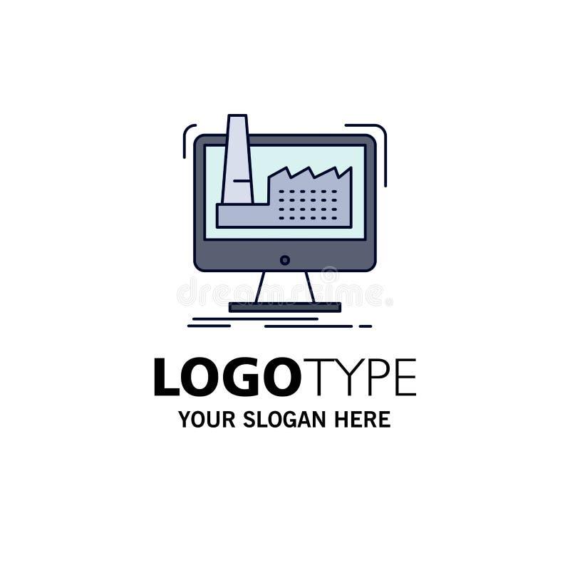 digitalt fabrik, tillverkning, produktion, för färgsymbol för produkt plan vektor stock illustrationer