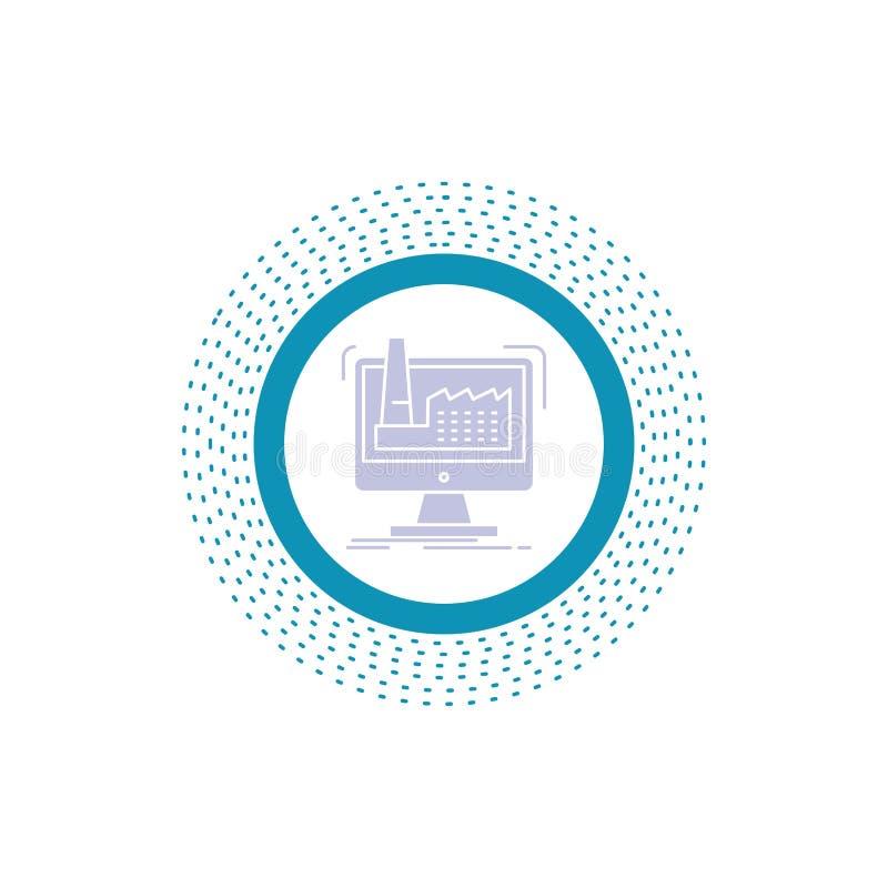digitalt fabrik, tillverkning, produktion, produktsk?rasymbol Vektor isolerad illustration royaltyfri illustrationer