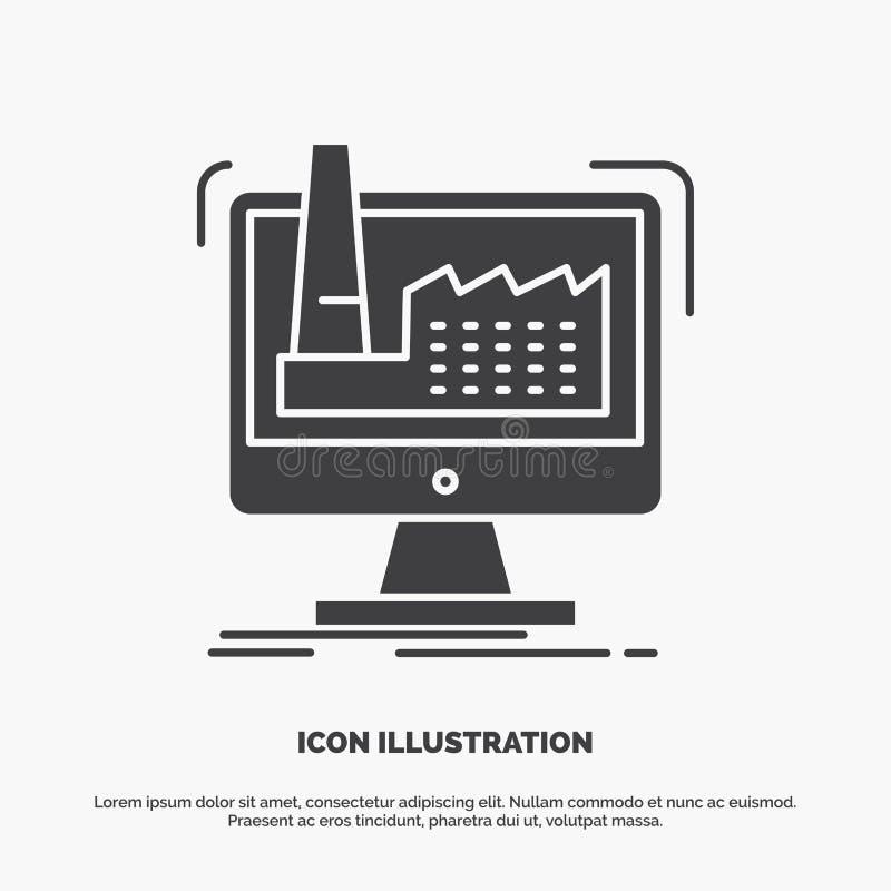 digitalt fabrik, tillverkning, produktion, produktsymbol gr?tt symbol f?r sk?ravektor f?r UI och UX, website eller mobil applikat vektor illustrationer