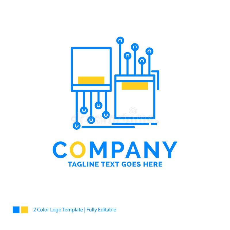 digitalt fiber som är elektronisk, gränd, blå gul affärsjournal för kabel royaltyfri illustrationer