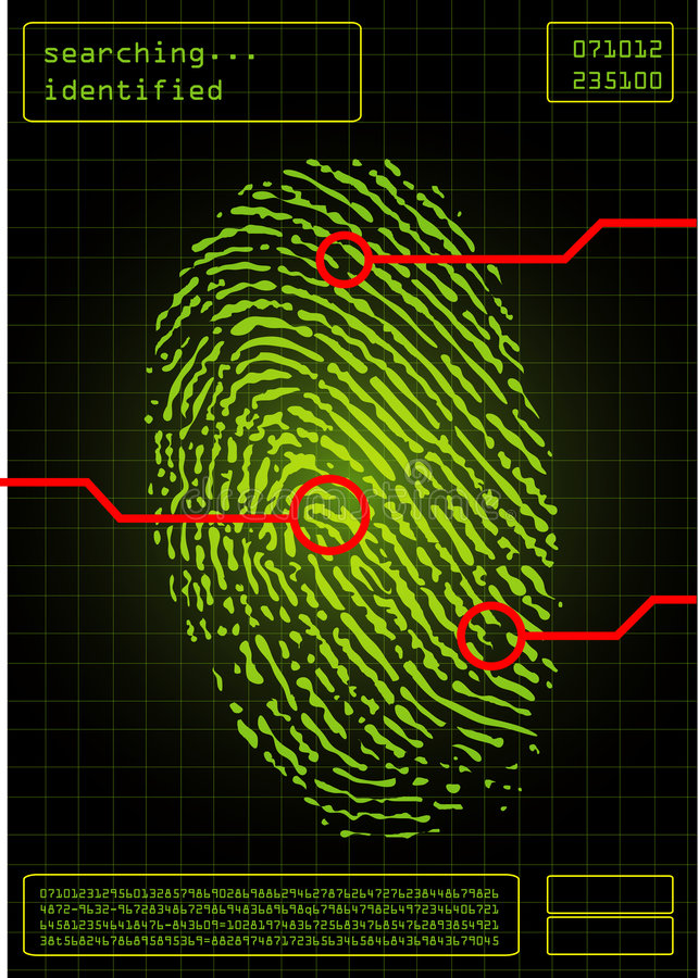 digitalt fingeravtryck royaltyfri illustrationer