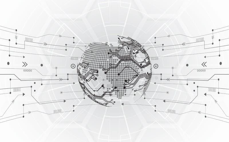 Digitalt globalt teknologibegrepp för vektor, abstrakt bakgrund royaltyfri illustrationer