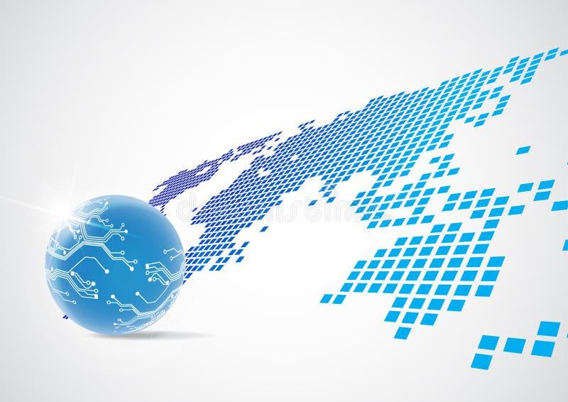 Digitalt globalt teknologibegrepp för vektor, abstrakt bakgrund vektor illustrationer