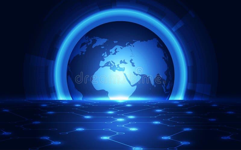 Digitalt globalt teknologibegrepp för vektor, abstrakt bakgrund stock illustrationer