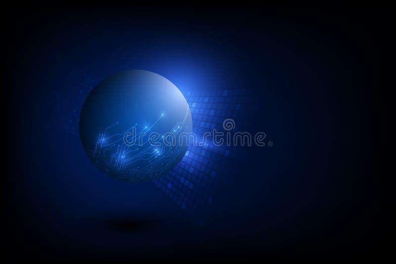 Digitalt globalt teknologibegrepp för vektor, abstrakt bakgrundsillustration stock illustrationer
