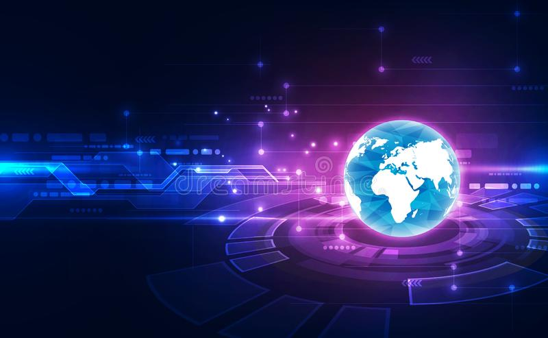 Digitalt globalt teknologibegrepp f?r vektor, abstrakt bakgrundsillustration vektor illustrationer