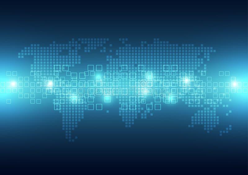 Digitalt globalt teknologiPIXEL för vektor, abstrakt bakgrund vektor illustrationer