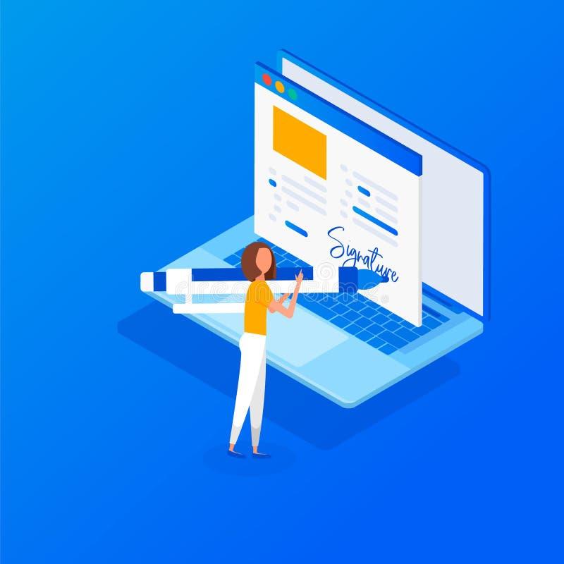 Digitalt häfte Isometriskt avtal för plan rengöringsduk 3d stock illustrationer