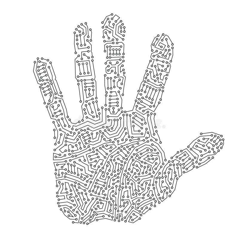 digitalt handtryck royaltyfri illustrationer