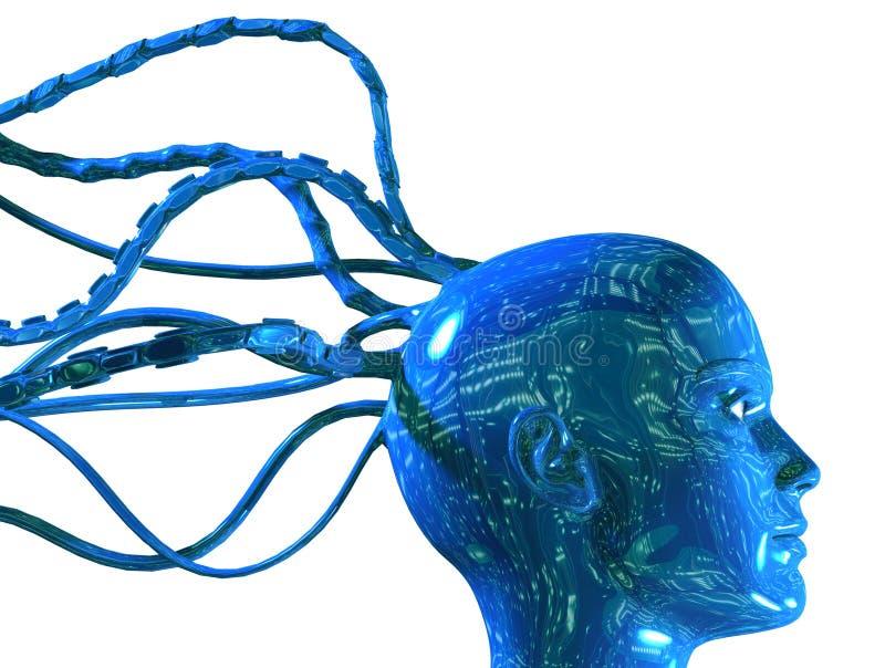 digitalt huvud för cyber 3d royaltyfri illustrationer
