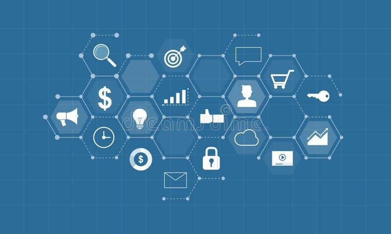 Digitalt innehåll för affär för att marknadsföra online-anslutning stock illustrationer
