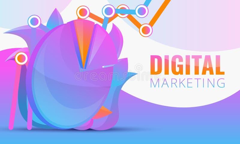 Digitalt marknadsföra begrepp för design med diagrammet stock illustrationer
