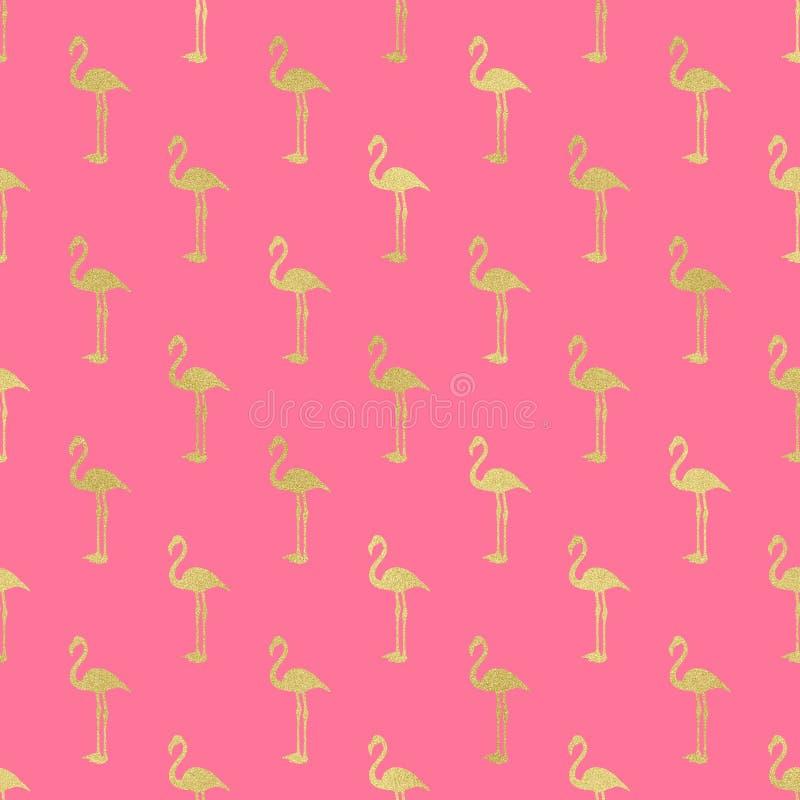 Digitalt papper för flamingo, guld- flamingobakgrund, sommartextur vektor illustrationer