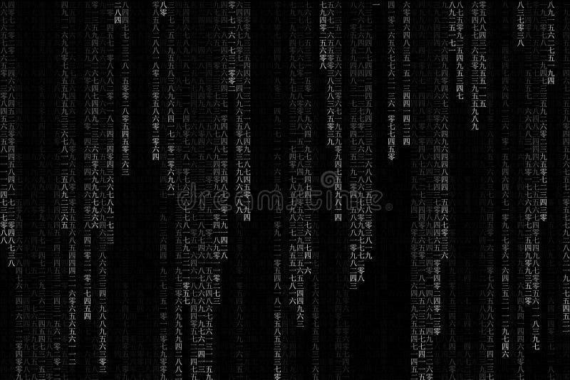 Digitalt porslin för teknologi eller kinesiskt textnummer av en, två, tre, fyra, fem, sex, sju, åtta, nio och den noll eller binä vektor illustrationer