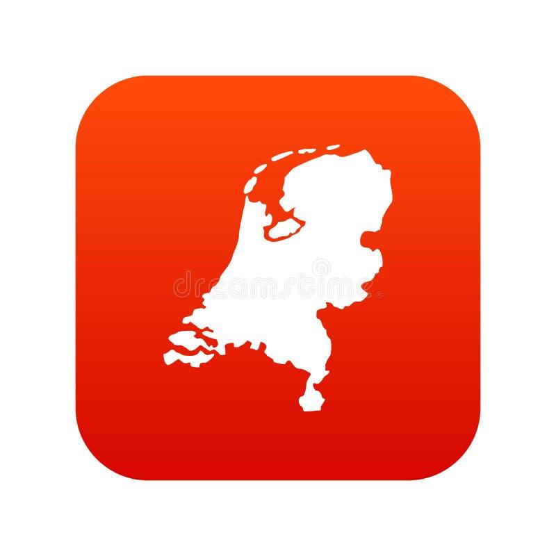 Digitalt rött för Holland översiktssymbol stock illustrationer