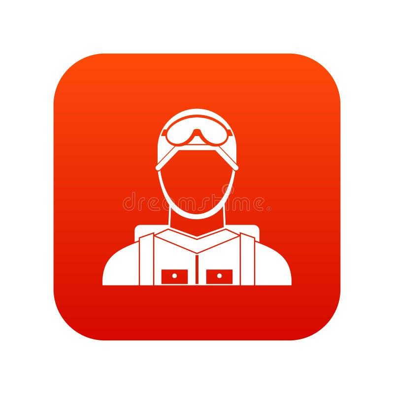 Digitalt rött för militär fallskärmsjägaresymbol vektor illustrationer