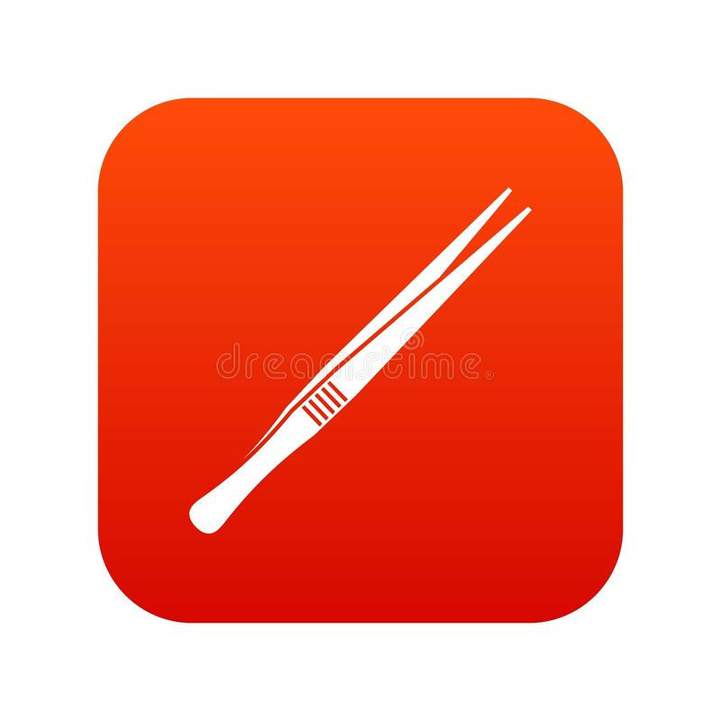 Digitalt rött för pincettsymbol royaltyfri illustrationer