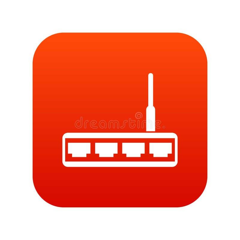 Digitalt rött för Routersymbol stock illustrationer