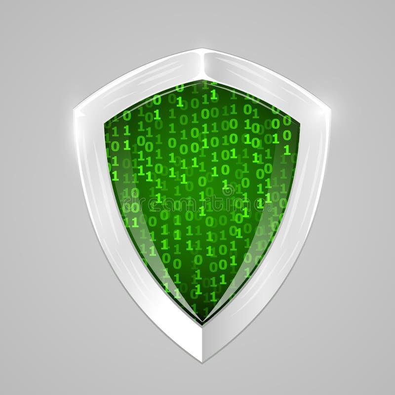 Digitalt sköldbegrepp för säkerhet Rengöringsduksäkerhet eller cryptocurrencytecken vektor illustrationer