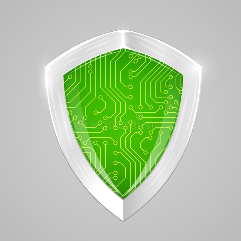 Digitalt sköldbegrepp för säkerhet Rengöringsduksäkerhet eller cryptocurrencytecken royaltyfri illustrationer