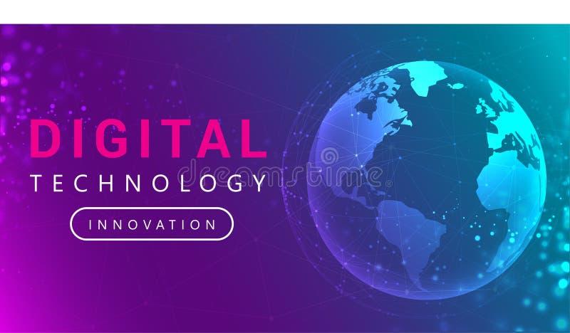 Digitaltechnik-Verbindungslinien um Erdkugel lizenzfreie abbildung