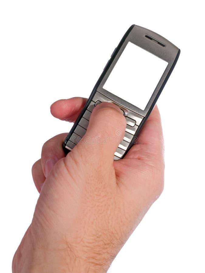 Digitando sullo smartphone isolato su bianco immagini stock