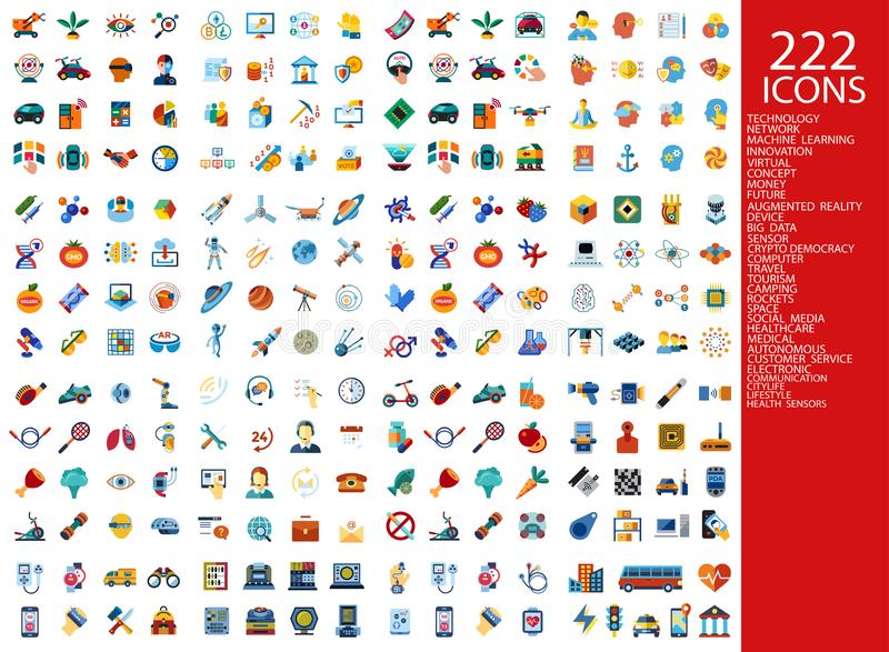 Digitas 222 ícones da cor ilustração do vetor