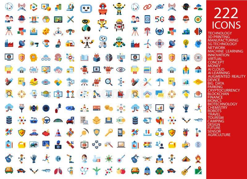 Digitas 222 ícones da cor ilustração stock