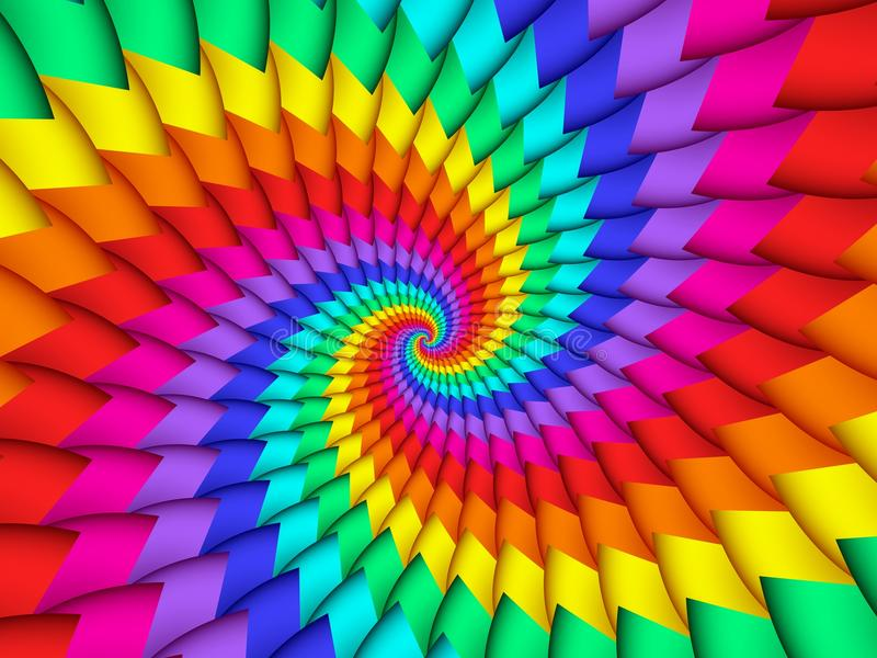 Digitas Art Abstract Rainbow Spiral Background imagens de stock