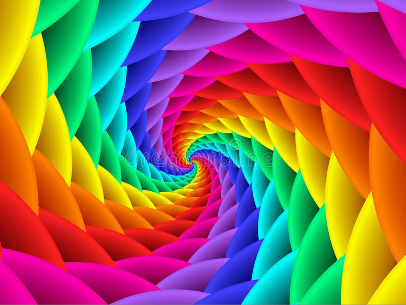 Digitas Art Abstract Rainbow Spiral Background fotografia de stock
