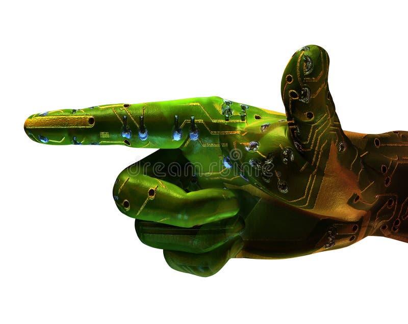 Digitas que apontam a mão do robô ilustração royalty free