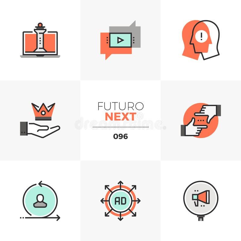 Digitas que introduzem no mercado ícones seguintes de Futuro ilustração royalty free