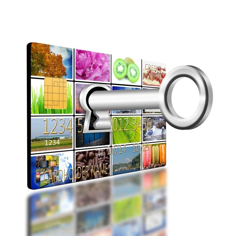 Digiti il buco della serratura sul creditcard royalty illustrazione gratis