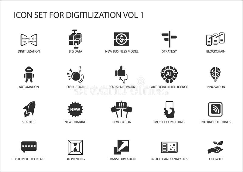 Digitilization icons for topics like big data, blockchain, automation, customer experience, mobile computing, internet of t. Hings, insights, analytics stock illustration