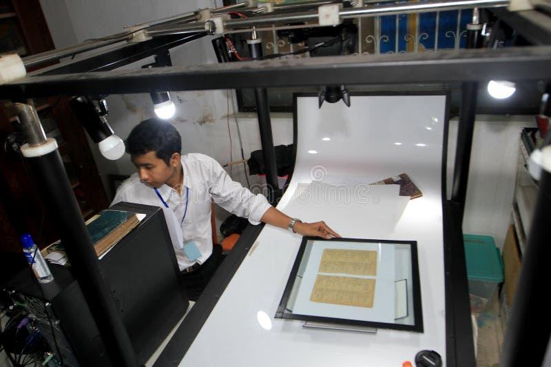 Digitization av forntida manuskript arkivfoton