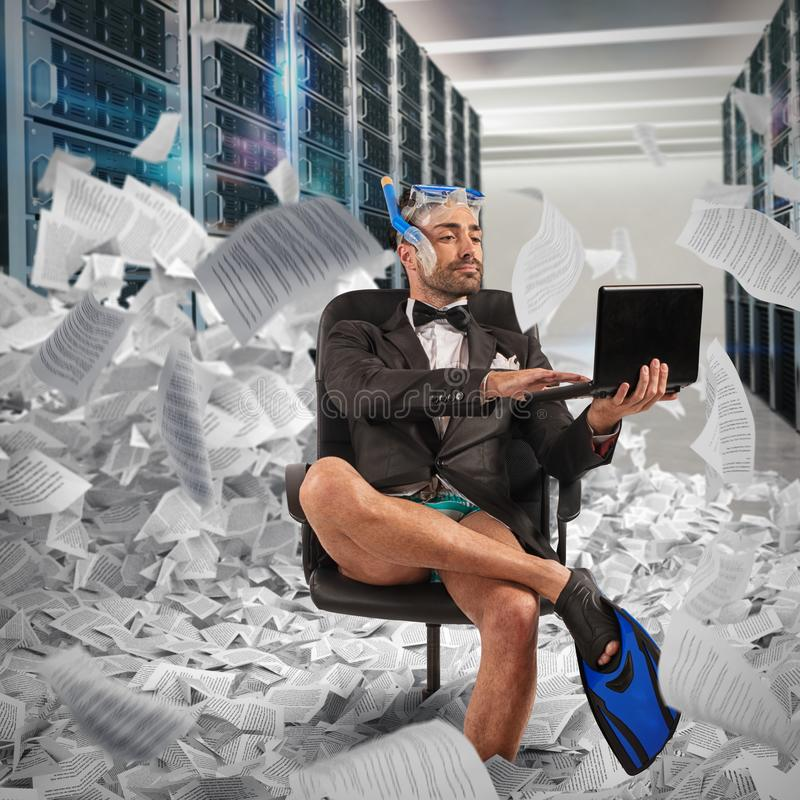 Digitization concept from paper to digital. Businessman uploads documents to a database royalty free stock image