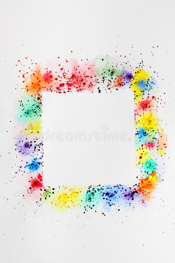 Abstract background watercolor drawing square frame. Digitized watercolor drawing with the image of an abstract geometric pattern royalty free stock photos