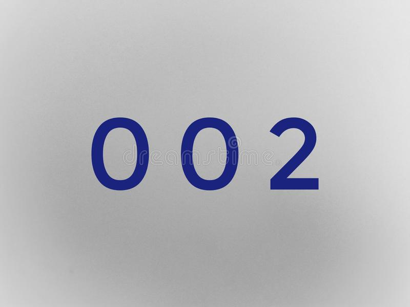 Digit's 002 in blue color royalty free stock photos