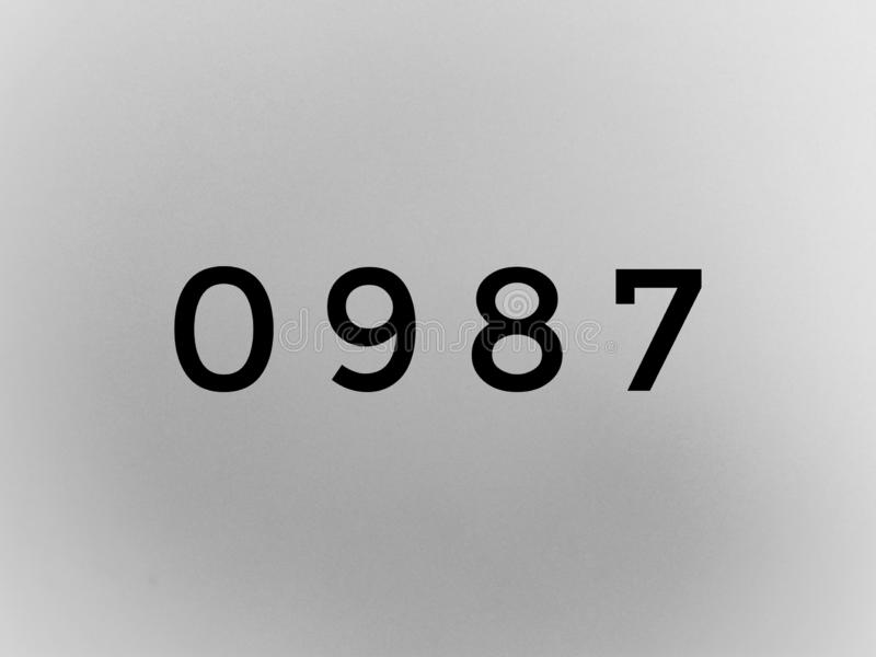 0987 digits on grey background royalty free stock image